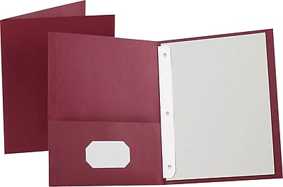 Oxford® Twin Pocket Folder, 3 Fasteners, Burgundy, LETTER-size, Holds 135 Sheets