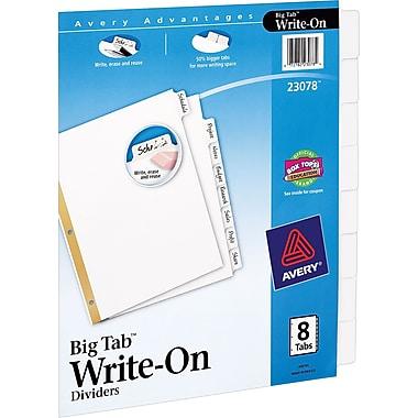 Avery® Write-On Big Tab Dividers, White, 8-Tab Set (23078)