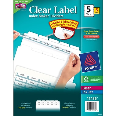 Avery index maker clear label tab dividers 5 tab white 5 sets avery clear label index maker dividers white 5 tab 5pack pronofoot35fo Images