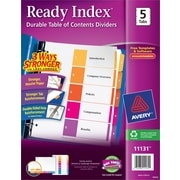 Avery® 5-Tab Ready Index® Multicolor Table of Contents Dividers, 1 Set/Pack
