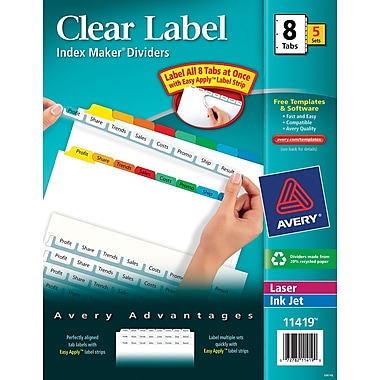 Avery® Index Maker Clear Label Tab Dividers, 8-Tab, Multicolor, 5 Sets/Pack