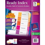 Avery® 12-Tab Ready Index® Multicolor Table of Contents Dividers, 6 Sets/Pack (11196)