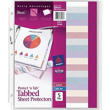 5-Tab Set Avery Protect 'n Tab Sheet Protectors