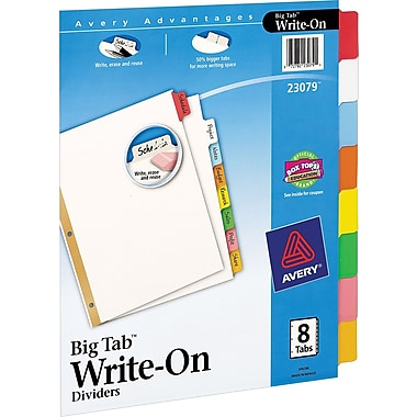 Avery Write-On™ BIG TAB Dividers, 8-Tab Set, Color Tabs
