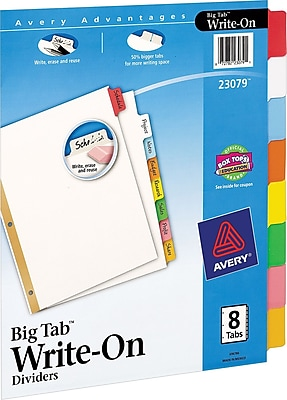 Avery Write-On Big Tab Dividers, Multicolor, 8 1/2