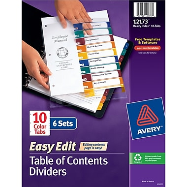 Avery® Ready Index® Easy-Edit Table of Contents Dividers, 10-Tab, Multicolor, 8 1/2