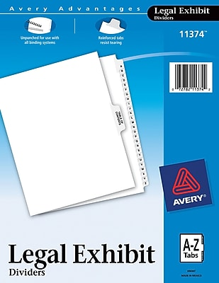 Avery® A-Z Legal Exhibit SideTab Dividers, Letter