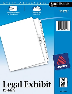 Avery® Legal Exhibit Dividers, 26-50