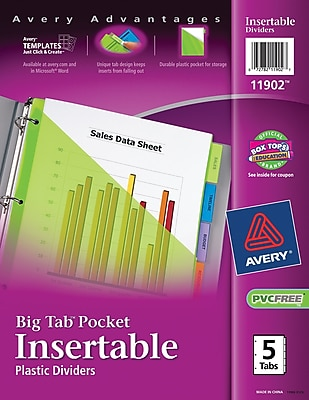 Avery® Big Tab™ Plastic Insertable Dividers with Pockets, 5-Tab, Multicolor (11902)