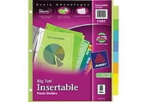 Avery Multicolored Plastic Insertable Tab Dividers, 8-Tab