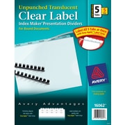 Avery(R) Index Maker(R) Unpunched  Plastic Clear Label Dividers 16062, 5-Tab, 5 Sets