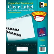"""Avery® Index Maker® Clear Label Plastic Unpunched Dividers, 8 Tab, Clear, 8 1/2"""" x 11"""", 5 Sets/Pk"""