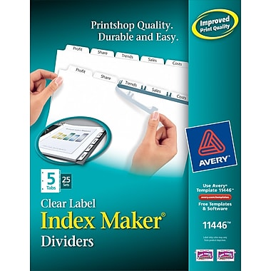 Avery Index Maker Clear Label Tab Dividers, 5-Tab, White, 25 Sets/Pack