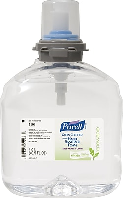 Purell® TFX™ Green Certified Instant Hand Sanitizer, Foam, Refill, 1,200 ml., 2/Case