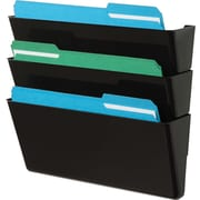 "Deflecto Stackable DocuPocket® Wall Files, 3 Pockets, Letter, Black, 7""H x 13""W x 4""D"