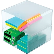 "Deflecto Divided Stackable Cube Organizer, Clear, 6""H x 6""W x 6""D"