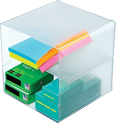 Deflecto Divided Stackable Cube Organizer, Clear, 6