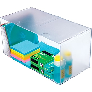 Deflecto Double Cube Stackable Organizer, Clear, 6