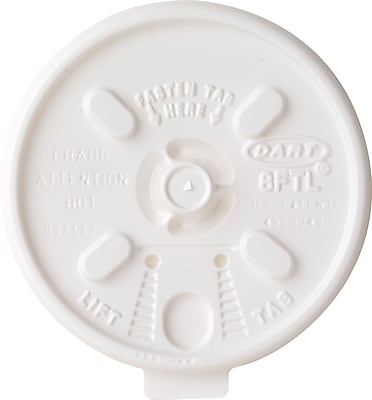 Dart Lift N' Lock Plastic Hot Cup Lids, 6-10oz Cups, White, 1,000/Ct 813717