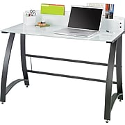 Safco Xpressions Glass Top Computer Desk, Frosted/Black