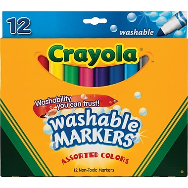 Crayola Washable Markers, Conical Tip, Assorted Colors, 12/Pk