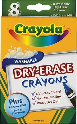 Crayola® Washable Dry-Erase Crayons, Assorted, 8/Pack