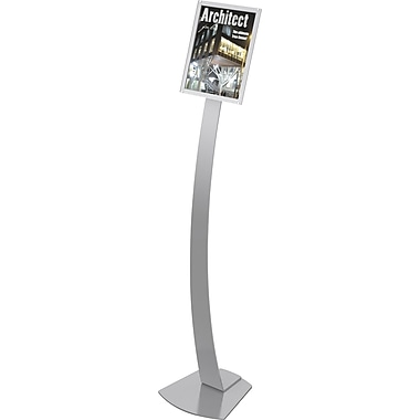 Deflecto® Contemporary Sign Stands, Silver, 56