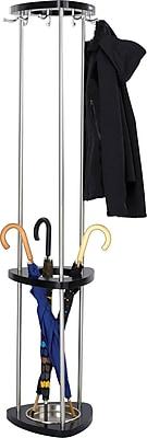 Safco® Mode™ 9 Hook Coat Rack with Umbrella Rack, Black, Wood (4214BL)