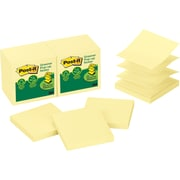 "Post-it® Pop-Up Notes, 3"" x 3"", Canary Yellow, Recycled, 12 Pads/Pack (R330RP12YW)"