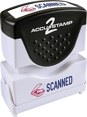 Accu-Stamp2® Two-Color Pre-Inked Shutter Message Stamp, SCANNED, 1/2
