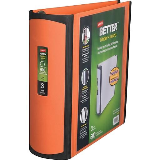 Staples Better View 3-Inch Slant D 3-Ring Binder, Orange