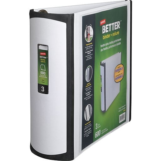 staples better 3 inch d 3 ring view binder white 15125 cc staples