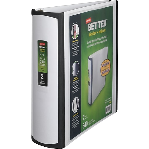 staples better 2 inch d 3 ring view binder white 13401 cc staples