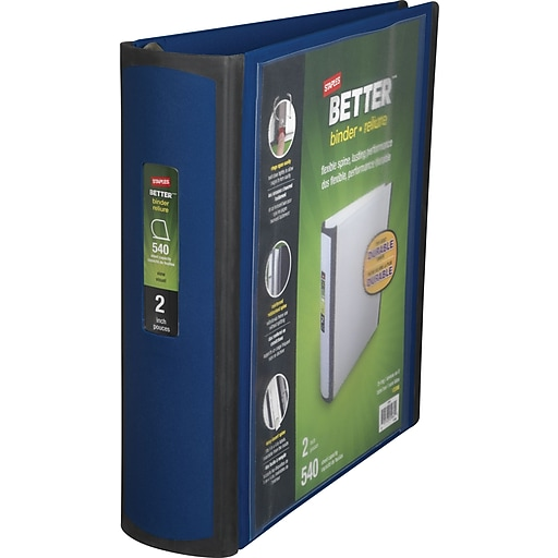 staples better 2 inch d 3 ring view binder blue 13398 cc staples