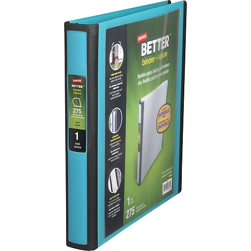 staples better 1 inch d 3 ring view binder teal 13466 cc staples