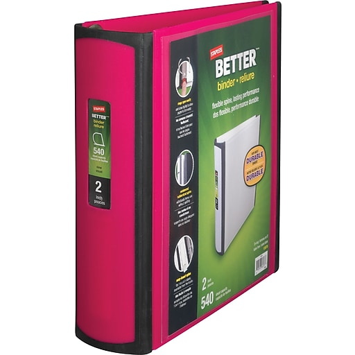 staples better 2 inch d 3 ring view binder pink 13570 cc staples