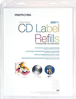 Memorex White CD Labels, 300/Pack