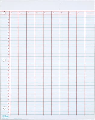 TOPS® Data Pad With Numbered Column Headings, White, 10 Columns, 8 1/2