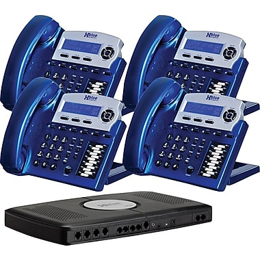 XBLUE X16 4-Line Small Office Telephone System, 4/Pack, Vivid Blue