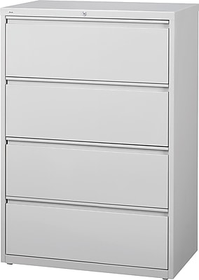 Staples Commercial 4 Drawer Lateral File Cabinet, Gray, 36