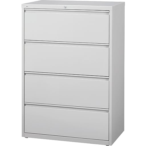Staples 4 Drawer Lateral File Cabinet Locking Letter Legal Gray 36 W 20299d