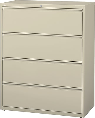 staples commercial 42 wide 4 drawer lateral file cabinet putty rh staples com lateral file cabinet wood 4 drawer lateral file cabinet 3 drawer