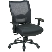 Office Star Big Man Air Grid Back & Leather Seat, Black