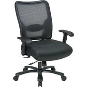 Office Star - Fauteuil pour forte taille, dossier en mailles Air Grid Back et siège en cuir, noir