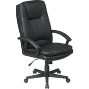 Office Star Mid-Back Executive Eco-Leather Chair, Black