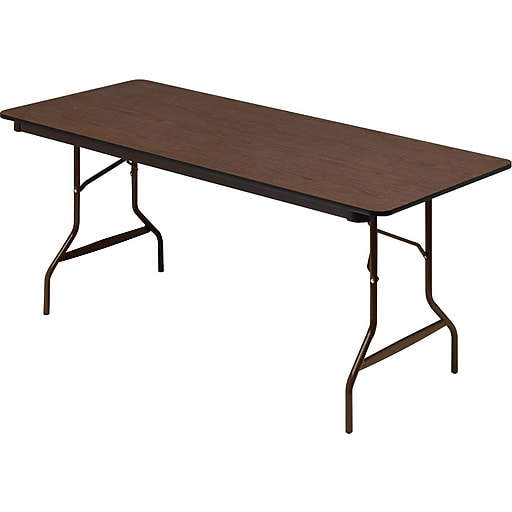 Iceberg Economy Wood Laminate Rectangular Folding Table Walnut Brown 29 H X 72 W X 30 D