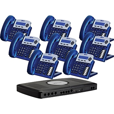XBLUE X16 6-Line Small Office Telephone System, 8/Pack, Vivid Blue