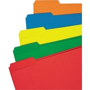 "Universal© Colored Top Tab File Folders, Assorted Colors, Letter, Holds 8 1/2""H x 11""W, 100/Bx"