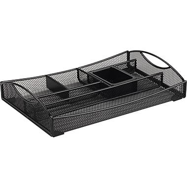 Staples Black Wire Mesh 7-Compartment Drawer Organizer