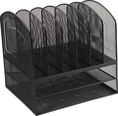 Staples Black Wire Mesh 2-Horizontal/6-Upright Section Organizer